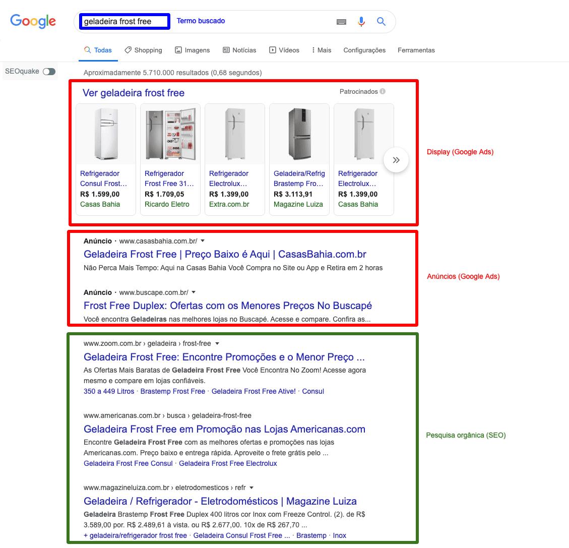 resultados da busca orgânica do Google